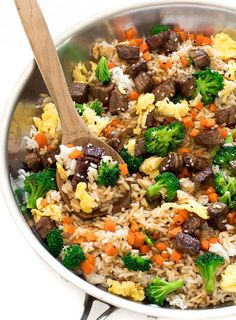 The BEST Fried Rice The BEST Fried Rice. This fried rice is loaded with veggies and only takes 20 minutes to make! Vegetable Fried Rice has to be one of my all time favorite dishes. I love making Chinese food at home and fr. Beef Fried Rice, Steak And Rice, Vegetable Fried Rice, Fried Vegetables, Veggies, Rice Recipes, Beef Recipes, Cooking Recipes, Healthy Recipes