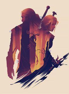 The Witcher art print Geralt Ciri Leshen forest scene The Witcher Books, The Witcher 3, Video Game Posters, Video Game Art, Video Games, Geralt And Ciri, Witcher Wallpaper, Witcher Art, Sky Design