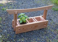 Items similar to Japanese-style Western Red Cedar Herb and Plant Caddy w/ 3 Planter Boxes (Windowsill) on Etsy Diy Wooden Planters, Cedar Planters, Wooden Garden, Planter Boxes, Wooden Diy, Backyard Projects, Garden Projects, Wood Projects, Small Japanese Garden