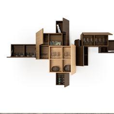Dsigno : collage collection. Un système d'étagères qui se compose de blocs de différents formats et différentes finitions qui s'enchevêtrent pour créer une composition aussi étonnante qu'élégante.