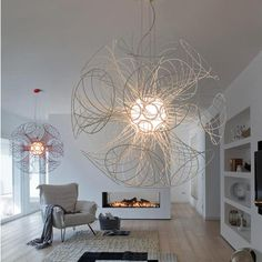 Modern chandelier design features a unique style and is able to give a beautiful lighting in your room, round-shaped with many cones are on snap Contemporary Light Fixtures, Contemporary Chandelier, Unique Chandelier, Shell Chandelier, Chandeliers, Cool Lighting, Modern Lighting, Lighting Design, Decoration Table