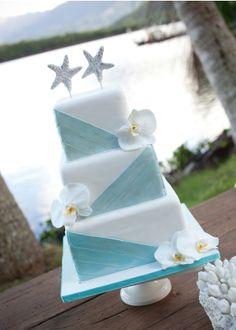 Pretty Pale Blue & White Square Tiered Wedding Cake