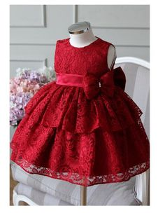 2017 New Baby Girl Dress Red And Gray Bow Ball Gown Baby Girls Birthday Dresses Vestido Infant Baptism Christening Dress Baby Girl Birthday Dress, Baby Girl Party Dresses, Birthday Dresses, Baby Dress, Red Flower Girl Dresses, Girls Lace Dress, Little Girl Dresses, Girls Dresses, Formal Dresses
