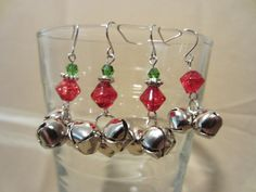 Handmade 3 Silver Christmas Bell & Beaded Dangle Earrings, Holiday Sparkle, Classic Style, Festive Jewelry, Jingle Bells, Fashion Jewelry