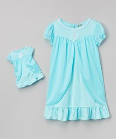 Another great find on #zulily! Blue Ruffle Nightgown & Doll Outfit - Girls #zulilyfinds