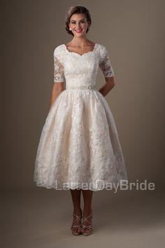 This. But like floor length. And a fuller ballgown Yep. It's my dream!!!!! Modest Wedding Dresses : Santurno