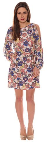 Alison Blue Peach Small Floral Crepe Style Cut Out Cold Shoulder Belted Shift Dress