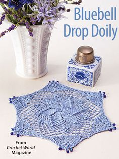 Bluebell Drop Doily from the April 2017 issue of Crochet World Magazine. Order a digital copy here: https://www.anniescatalog.com/detail.html?prod_id=135860