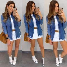 [New] The 10 Best Outfit Ideas Today (with Pictures) - Which one? Cute Casual Outfits, Stylish Outfits, Fall Outfits, Summer Outfits, Look Fashion, Skirt Fashion, Fashion Outfits, Looks Camisa Jeans, Denim Outfit