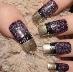 Purple Decorated Nails | False Nails | Long Nails | Full Cover | Fake Nails | Square Nails | Artificial Nails | Press On Nails | Hand Made