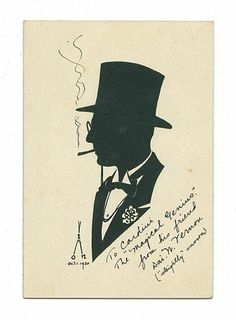 """Vernon, Dai. Silhouette of Cardini by Dai Vernon. [New York], 1930. Handsome likeness of Cardini in tie and top hat, smoking a cigarette. Embellished with pen-and-ink. On a mount measuring 4 ¼ x 6 ¼"""". With an unusual Vernon signature. Inscribed and signed, """"To Cardini The """"Magical Genius"""" from his friend Dai W. Vernon (""""sleightly"""" known)."""""""