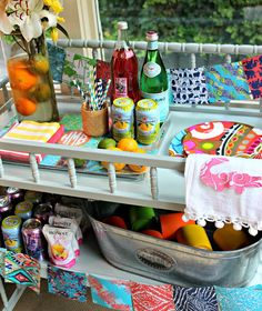 Changing table becomes bar cart Southern State of Mind: {Lilly Pulitzer Style Soiree} Make Every Hour a Happy Hour!