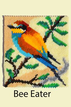 """Beading pattern for a Bee Eater from """"Bird Patterns in Peyote Stitch"""" by Sheila Root"""
