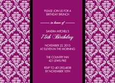 Magenta Texture 75th Birthday Invitation By PurpleTrail 70th Parties Party Invitations