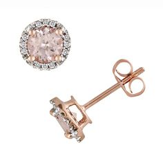 Pink Rhodium-Plated Sterling Silver Morganite and Diamond Accent Halo Stud Earrings