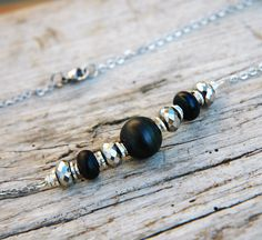 Black Matte Glass Arced Necklace by LittleLuxuryBoutique on Etsy