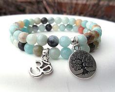 Amazonite Bracelet, Yoga Bracelet, Om Bracelet, Tree of Life, Yoga Jewelry, Calming Bracelet, Gemstone Bracelet on Etsy, $31.95