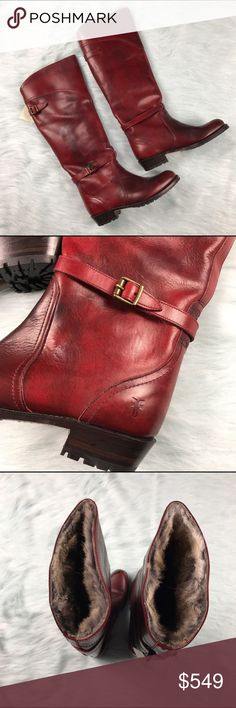 Frye Rabbit Fur Lined Leather Women's Boots Red Women's size 8.5 BRAND NEW IN BOX Frye red leather rabbit fur lined boots. Frye Shoes Combat & Moto Boots