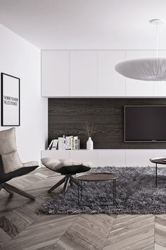 Dark wood and white TV cabinets
