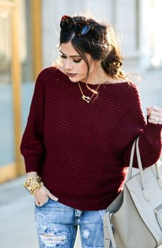 #winter #fashion /  Burgundy Knit / Destroyed Skinny Jeans