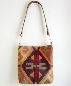 Southwestern Kilim Carpet Bag Hobo Bag w Leather Strap  by hellome, $50.00