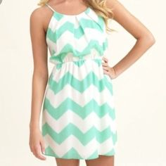 Mint And White Chevron Halter Dress