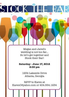 Stock the Bar Invitation Any Colors Bar Bridal showers and