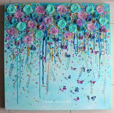 Mixed Media painting with 3 dimensional by JulieRyderMixedMedia