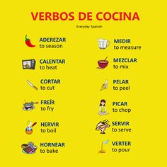 Verbos de cocina | Spanish verbs about cooking. Click on the image to learn more Spanish cooking verbs.