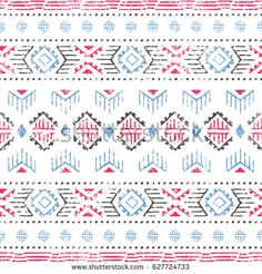 Ethnic and tribal motifs. White, gray, pink and blue colors. Ethnic Patterns, Cool Patterns, Print Patterns, Pattern Images, Blue Colors, Tribal Fashion, Vintage Prints, Geometry, Hand Lettering