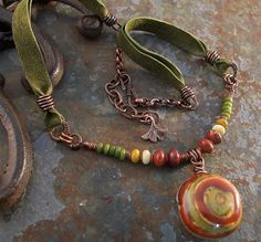 South of the Border--Ceramic Pendant in Avacado, Goldenrod and Chili Pepper Red with Copper and Leather