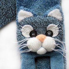 Knitted scarf de chat les enfants tricotés animaux foulard