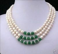 3Rows 7-8MM White Akoya Pearl and Green Jade Necklace