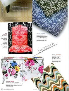 Fabric from Robert Allen's newest collaboration with Larry Laslo Designs was featured on page 28 of New York Spaces Magazine! Shown at the top right are Rockery in Aquamarine & Onyx #Upholstery #LarryLaslo