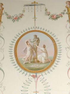 Panel detail of a Herm of Pan adorned by Nymphs (after Angelica Kauffman) at Attingham Park Boudoir _BM