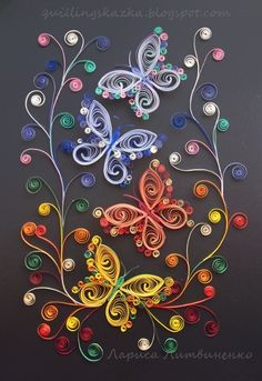 "Fairy Tales on Quilling: Association on the subject: ""Som - Quilled Paper Art Quilling Butterfly, Arte Quilling, Paper Quilling Patterns, Origami And Quilling, Quilled Paper Art, Quilling Paper Craft, Butterfly Crafts, Butterfly Art, Paper Crafts"