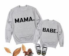 So cute!!! Mama and Babe matching outfit. Matching Family Halloween Costumes, Matching Family Outfits, Mommy And Me Outfits, Mamas And Papas, All Family, Family Shirts, Mens Sweatshirts, Crew Neck Sweatshirt, Long Sleeve Shirts