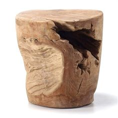 Pacific Solid Teak Stump Decorative Side Table / Stool
