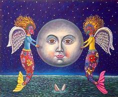 Mexican-Painting-German-Rubio-Folk-Art-Moon-Luna-Angels-Sirens-with-Masks