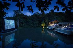 Cinema Paradiso at Soneva Kiri in Koh Kood, Thailand. Watch a Hollywood classic in the middle of an untamed jungle while enjoying gourmet munchies and an array of craft cocktails. Wow....this open-aired theater is awesome!