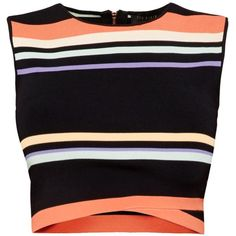 Ted Baker Jeenie Tribal stripe crop top ($125) ❤ liked on Polyvore featuring tops, navy, women, navy top, navy blue tops, navy striped top, sleeveless tops and black wrap top