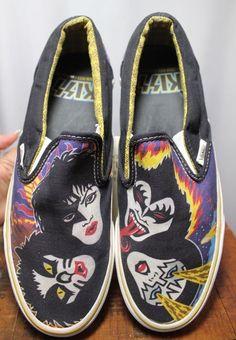 f01437d6fb Vans Kiss Rock   Roll All Over Black Canvas Slip On Loafer Shoe Men 7 Women…