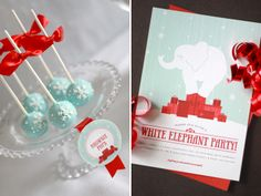 white elephant. ice blue silver red.
