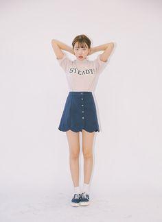Scalloped Button-Down Mini Skirt | STYLENANDA