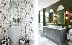 Two eclectic bathroo