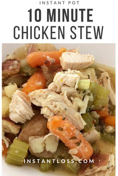 A delicious, healthy, meal, from pot to table in under 30 minutes! This Instant Pot 10 minute Chicken Stew won't disappoint! {this post contains affiliate links} 10 Minute Chicken Stew Serves 6-8 INGREDIENTS 2 (4-6oz) Raw Chicken Breasts 2.5 cups Homemade Vegetable Broth 1 large Onion, diced 2 cups Organic Sweet Potatoes or Organic Red …