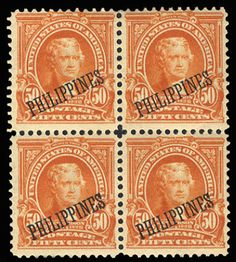 Philippines US Administration 1903-4 1c-50c, complete set, blocks of four (except 1c, two horizontal pairs), 13c n.h., balance hinged or dried gum, fine-v.f., (Catalog value $ 2,284)    Dealer  Cherrystone Auction    Auction  Estimate price:  700.00 US$