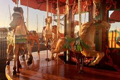 Beautiful pastel horses! A carnival attraction at Silo park during sunset. Auckland, New Zealand. | Flickr