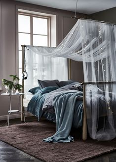 A short way to a cozy bedroom: gjöra bed frame, ikea textile, led light chains and some inspiration.