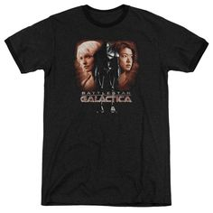 Bsg - Created By Man Adult Ringer T- Shirt
